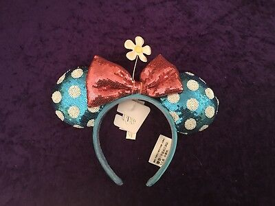 NEW Disney Minnie Mouse Ear Headband Blue Polka dots With Pink Bow And Flower