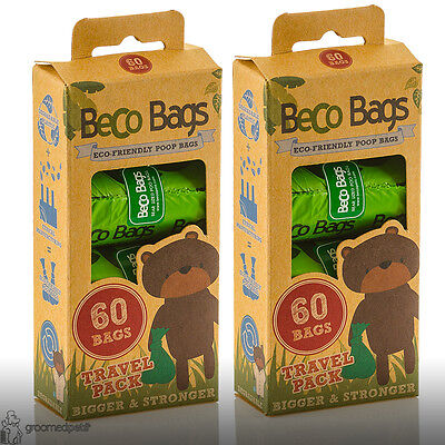 Beco Eco Friendly Degradable Extra Thick Dog, Puppy Poop Bags, 60 Travelpack x 2