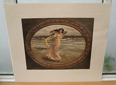 Quality Hand Coloured Art Nouveau 1900 Print Summer Breezes by W H Margetson