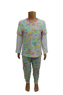 Girls Ex Mothercare Pajamas Sleeping Suit Floral Print White Age 3 to 4 Years C2