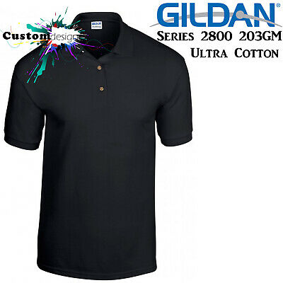 Gildan POLO Golf Jersey Collar T-SHIRT Black blank plain tee S-XXL Ultra Cotton