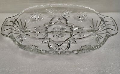 Vintage Anchor Hocking Glass Clear Divided Relish Dish Handle Star Of David Eapc
