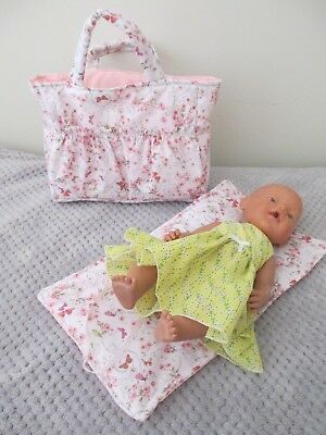 """Dolls Nappy Bag & Change pad, """" Flowers & Butterfly's PINK"""""""