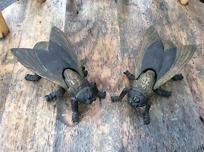 Vintage Bronze/Brass Pair Wasp Fly Trinket/Match Holders Ashtrays
