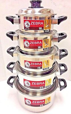 10pcs Set Zebra Stainless Steel Pot With Lid 3 Layered Bottom 16 24 Cm