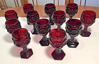 Avon Vintage Ruby Red 1876 Cape Cod Wine Glasses / Goblets