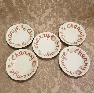 Wood & Sons COUNTRY Cranberry 5 dessert bowls  Cherry Orange Letters