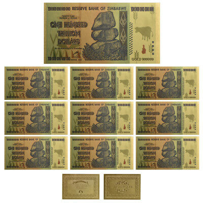 WR 10× $100 One Hundred Trillion Dollar Zimbabwe Gold Banknote Set Gifts /w COA