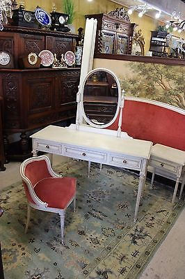 Beautiful French Louis XVI Painted Antique White Dresser / Vanity With Chair .