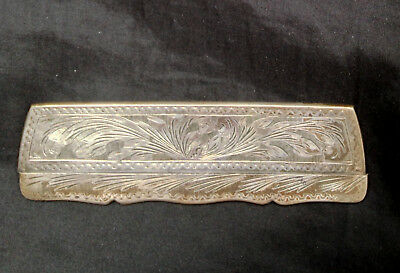 Vintage Engraved Italian 800 Silver Women's Hair Case and Comb