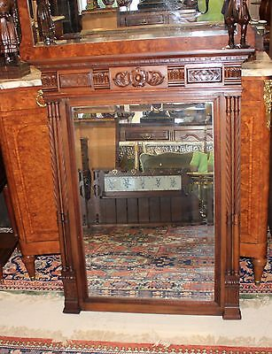 Beautiful French Antique Louis XVI Walnut Mirror.