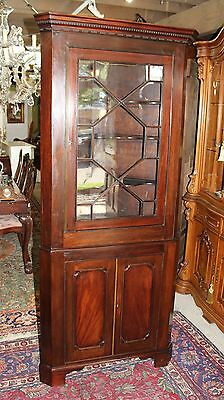Beautiful English Antique Mahogany 2 Doors Corner Cabinet With Light .