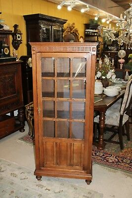 Beautiful French Walnut Louis XVI Glass Door Bookcase / Curio / Display Cabinet.