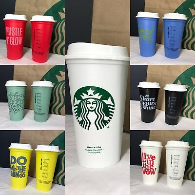 Starbucks Reusable Coffee Cup 16oz Grande BPA Free Plastic U PICK COMBINE SHIP