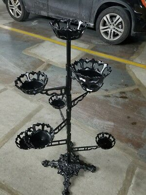 "Victorian Cast Iron Ornate Swivel Arm Plant Stand - 8 Receptacles  44"" H"