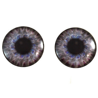 Pair of 40mm Steampunk Gear in Purple and Blue Glass Eyes Cabochons Set