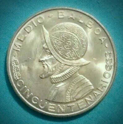 1953 Panama 🇵🇦 Half Balboa Silver Coin. Bright Uncirculated.