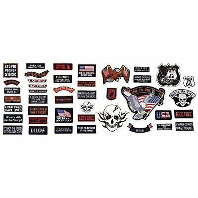 42pc PATCH Embroidered SET Badge Motorcycle Biker Vest Jacket USA Flag Patches