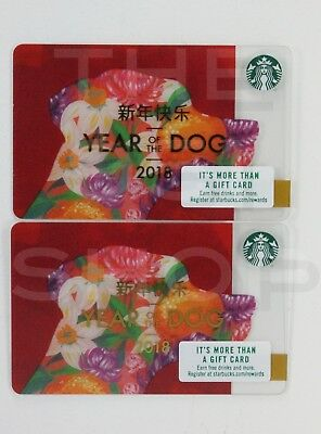 2 Starbucks 2018 Year of the Dog Limited Edition Gift Card