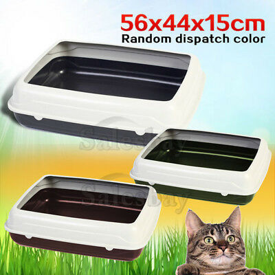 Large Quaity Pet Cat Kitty Litter Pan Tray Box With Rim 56X44X15cm