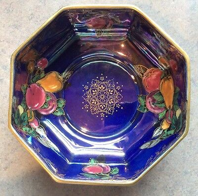 "CROWN DEVON :: Vtg 6 1/2"" OCTAGONAL LUSTERINE BOWL Fruits Stoke-on-Trent ENGLAND"