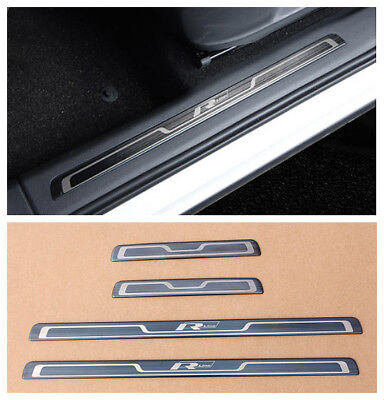 Black Door sill scuff plate Guard trim Rline For VW Tiguan mk2 2017 2018 2019