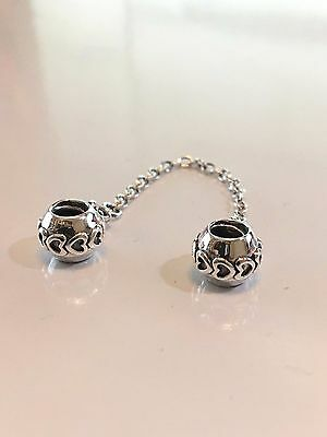 PANDORA Hearts Safety Chain 791088 - S925 ALE Sterling Silver Charms