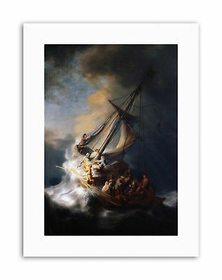 REMBRANDT CHRIST IN STORM ON LAKE OF GALILEE Painting Canvas art Prints