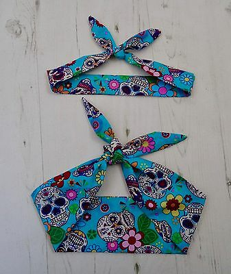 Matching Mum & Baby Head Scarf  Blue Mexican Candy Skull Tattoo Bandana Gift Set