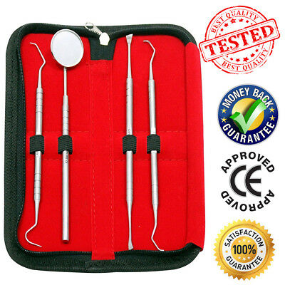 Dental Instruments Tweezers Scalers Probes Scraper Mouth Inspection Mirror Set