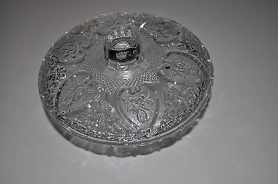 Vtg KIG Malaysia Fleur de Lis Pressed Glass Covered Candy Nut Dish w/ Lid MINT