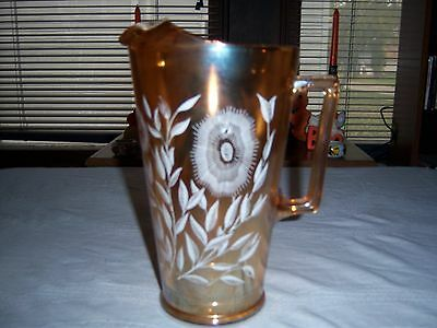 Carnival Glass Iridescent Gold With White Flowers Pitcher