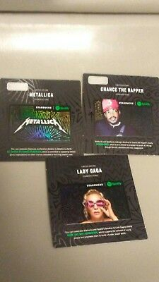 Starbucks Spotify Card Lot Of 3 Metallica Lady Gaga Chance The Rapper No Value
