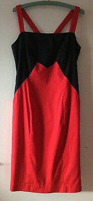 Vintage 1980's G2 by George Gross Summer Cocktail Strappy Dress Red/Black Size 8