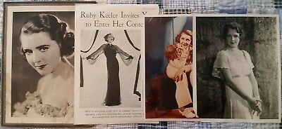 Ruby Keeler Vintage Lot Of Four Items - 1930's Promotional & Wire Photos & More