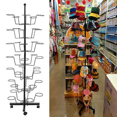 7 Tier 35 Hat Floor Display Rack Rotating Adjustable Stand Cap Retail Organizer