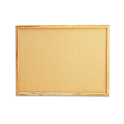 UNIVERSAL Cork Board with Oak Style Frame 24 x 18 Natural Oak-Finished Frame