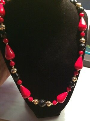 Vintage Red Black And Gold Beaded 22 Inch Long Necklace
