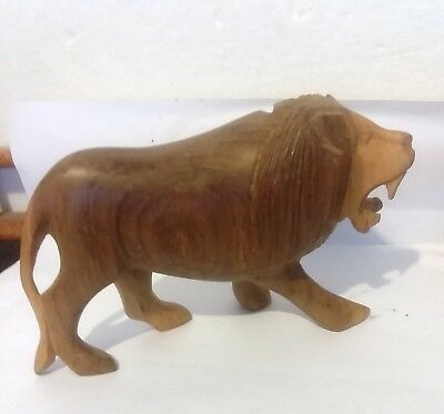 "LooK  HAND CARVED MAPLE LION SCULPTURE FIGURINE 7"" LONG HEAVY AFRICAN ART"