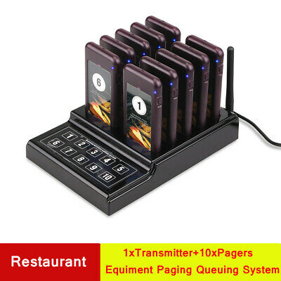 Wireless Guest Paging Queuing System Transmitter&10Pager for Restaurant Club New