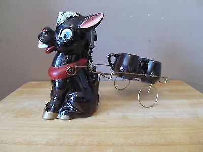 Vintage Brown Ceramic Donkey w/Metal Cart & 4 Small Cups~Hand Painted~Tilso?