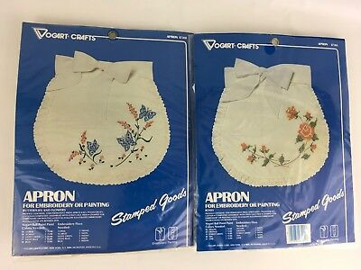 2 Vintage Embroidery Apron Kits Stamped Kit Vogart Crafts Flowers Butterfly Rose