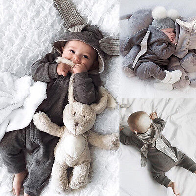 EG_ Newborn Baby Girls Boys Rabbit 3D Ear Romper Jumpsuit Bodysuit Clothes Relia