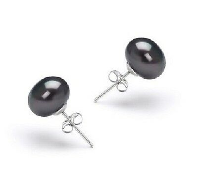 UK Seller Natural BLACK Fresh water Pearl  925 Sterling Silver Stud Earrings