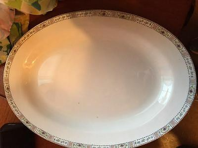 Large Off White Serving Platter Turkey Meat Oval Ivory Ceramic Glass Plate