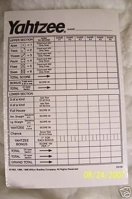 Yahtzee Score Pads Cards  Dice Game  480 Sheets. 5 Free Dice W/each Set Ordered