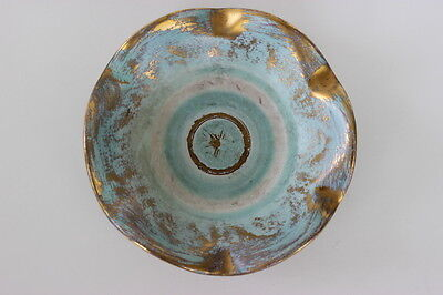 Vintage Stangl Pottery 22KT Antique Gold & Blue Hand Painted Wavy Bowl 4061 USA