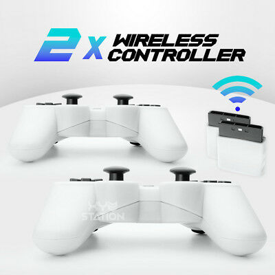 NEW 2x Wireless Bluetooth Game Controller For PS2 White