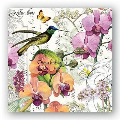 Full Package of 20 Paper Luncheon Napkins for Paper Crafts, Orchids, Birds