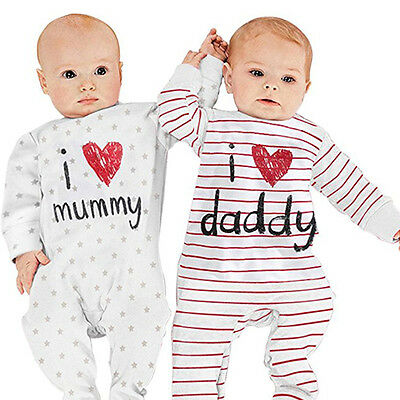 Eg_ Newborn Baby I Love Mummy Daddy Bodysuit Cute Soft Long Sleeves Romper Hones